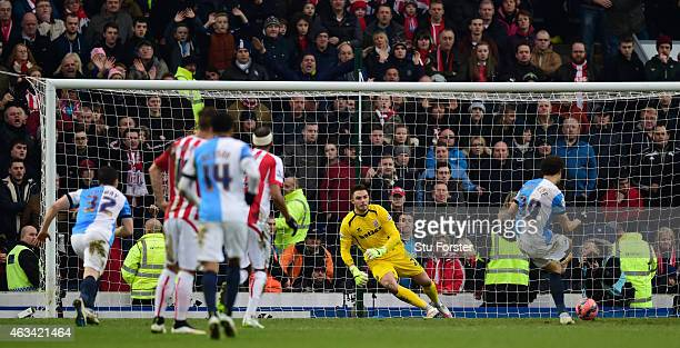 Stoke goalkeeper Jack Butland is sent the wrong way by Rudy Gestede of Blackburn to score their second goal from the penalty spot during the FA Cup...
