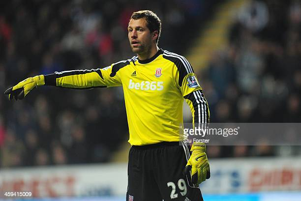 Stoke goalkeeper Thomas Sorensen in action during the Barclays Premier League match between Newcastle United and Stoke City at St James' Park on...