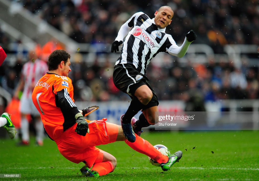 Stoke keeper Asmir Bergovic challenges Newcastle forward Yoan Gouffran during the Barclays Premier League match between Newcastle United and Stoke City at St James' Park on March 10, 2013 in Newcastle upon Tyne, England.