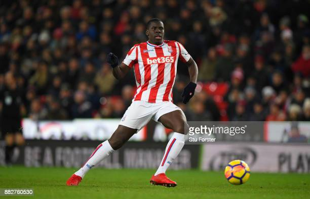 Stoke player Kurt Zouma in action during the Premier League match between Stoke City and Liverpool at Bet365 Stadium on November 29 2017 in Stoke on...