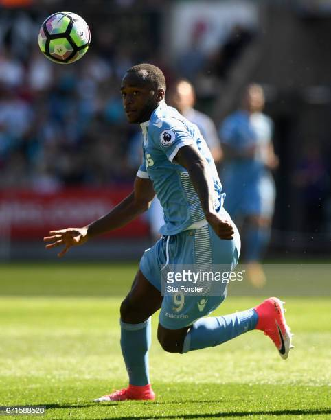 Stoke player Saido Berahino in action during the Premier League match between Swansea City and Stoke City at Liberty Stadium on April 22 2017 in...