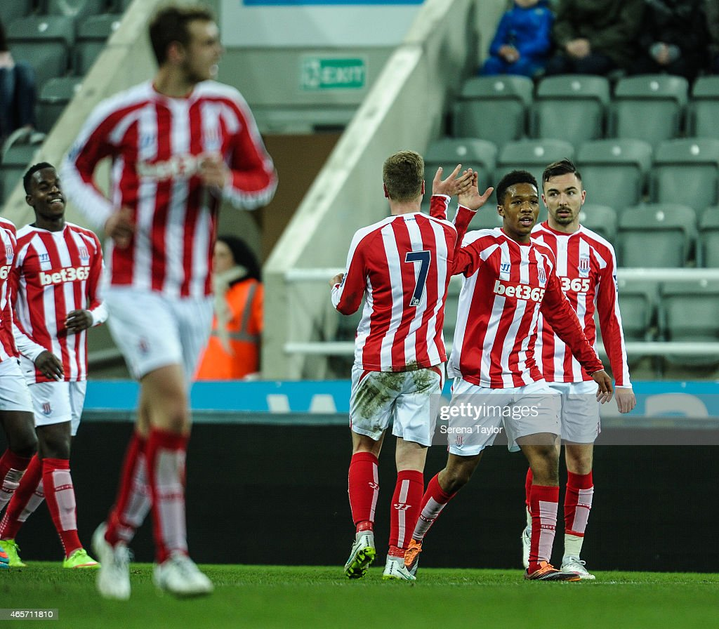 Stoke Players celebrate after Robbie Parry scored the opening goal during the U21 Barclays Premier League match between Newcastle United and Stoke City at St. James' Park on March 9, 2015, in Newcastle upon Tyne, England, United Kingdom.