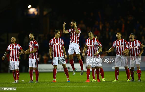 Stoke players celebrate during the penalty shootout during the Capital One Cup second round match between Luton Town and Stoke City at Kenilworth...