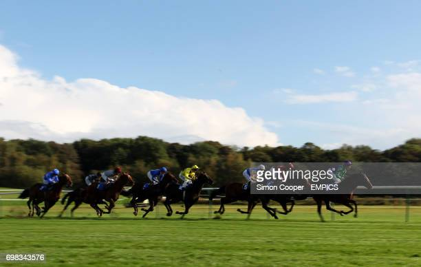 Stoked ridden by George Baker goes on to win The 32Red Casino EBF Stallion Madien Stakes Division One