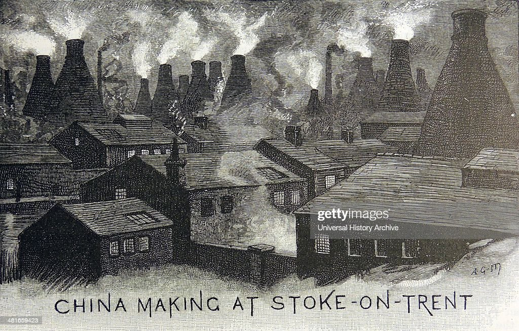 StokeonTrent Staffordshire England known as The Potteries showing the pollution caused by the smoking pottery kilns Engraving London 1885
