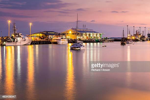 Stokes Hill Wharf at Darwin Waterfront at dusk
