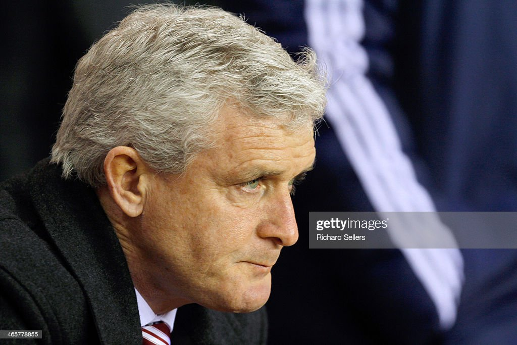 Stoke's manager Mark Hughes looks on during the Barclays Premier League match between Sunderland and Stoke City at Stadium of Light on January 29, 2014 in Sunderland, England.