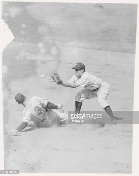 The Chicago White Sox played the New York Yankees at the stadium today and this action occurred in the first inning Joe Kuhel first baseman of the...