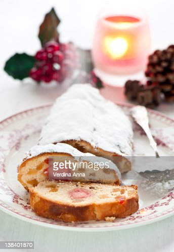 Stollen with dry fruit and marzipan : Stock Photo