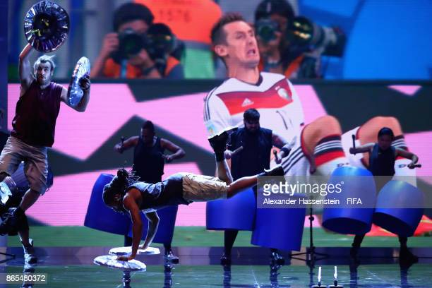 Stomp perform during The Best FIFA Football Awards at The May Fair Hotel on October 23 2017 in London England