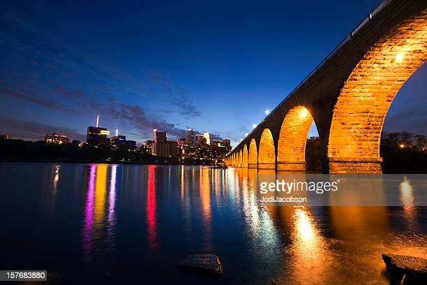 stone arch bridge in Minneapolis Minnesota cityscape