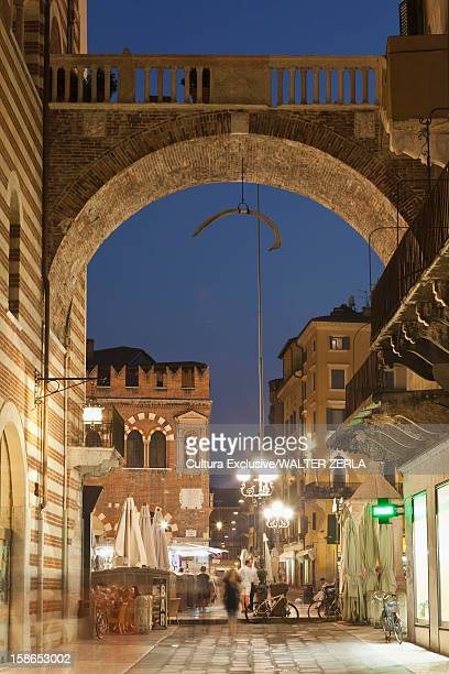 Stone archway over city street