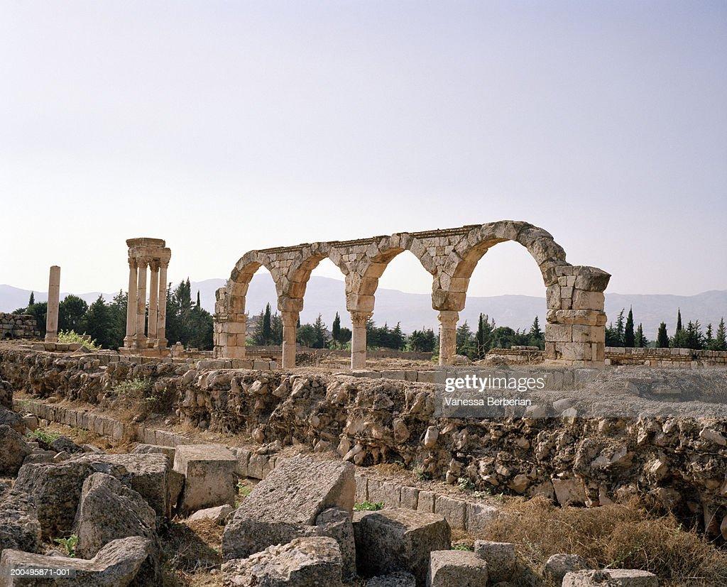 Stone archway remains,   Anjar, Lebanon : Stock Photo