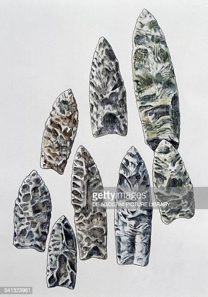 Stone arrowheads probably used to kill mammoths drawing North America I millennium BC