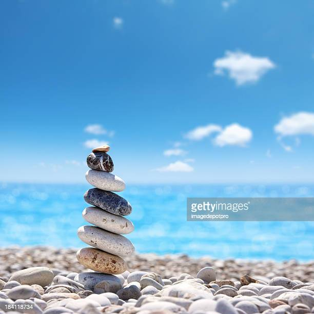 stone balance on beach