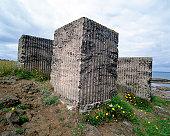 Stone blocks in field