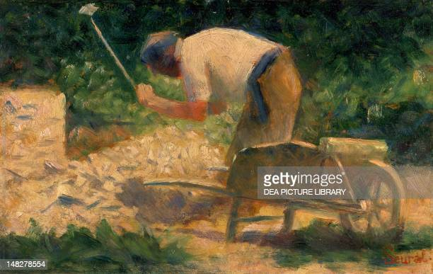 Stone breakers with a wheelbarrow Le Raincy by Georges Seurat 17x26 cm Washington Phillips Collection