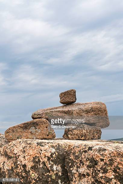 Stone cairn marking a trail in Acadia Nat Park