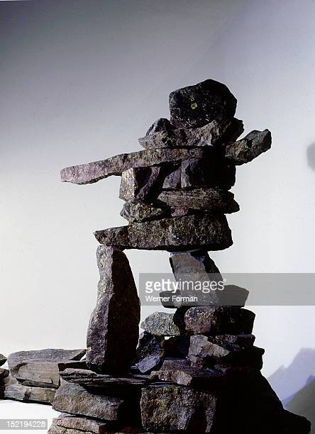 Stone cairns such as this were used over much of the north for driving caribou who mistook them for hunters They were also used as landmarks to aid...