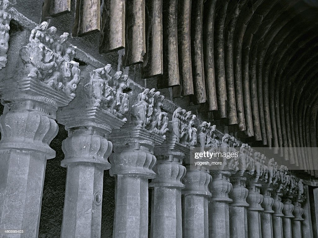 Stone carved pillars & Ceiling of Karla cave : Stock Photo
