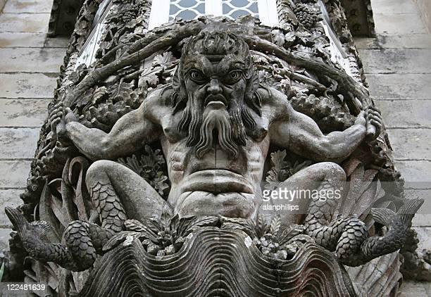 Stone carving in wall at Palacio da Pena, Portugal
