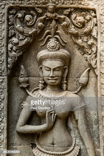 Stone carving of apsara at angkor wat cambodia stock photo