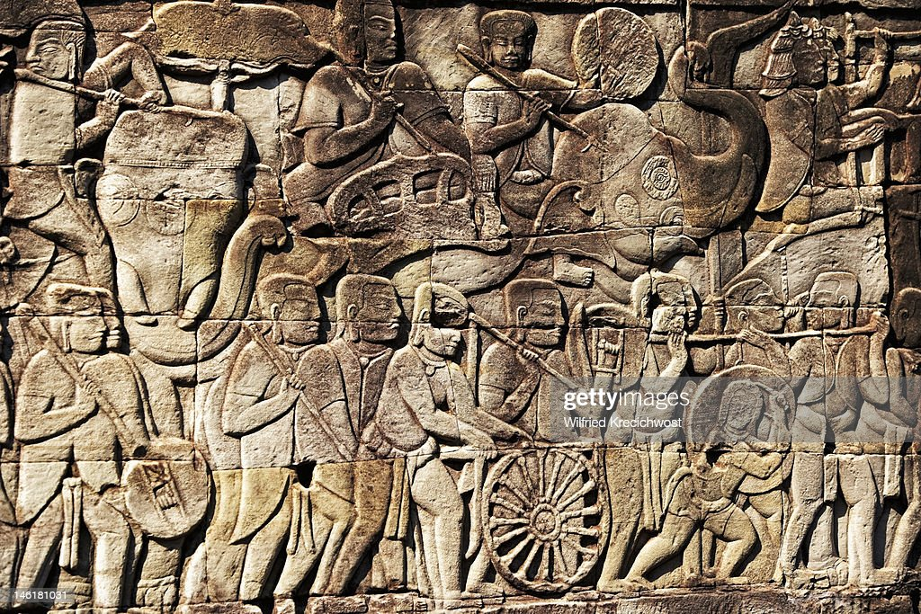 Stone carvings at angkor wat stock photo getty images