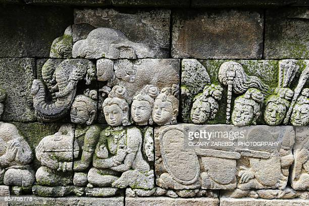 Stone carvings of Borobudur temple in Indonesia