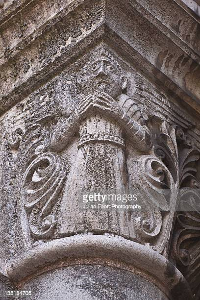 Stone carvings on the church of St Julien
