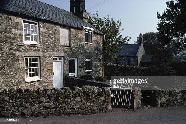Stone cottages in the coastal village of Abersoch Gwynedd Wales September 1982