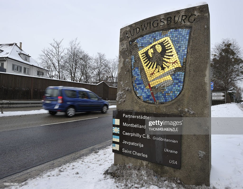 A stone decorated with the city arms of German city of Ludwigsburg displays the names of its international sister cities on a road in Ludwigsburg, southwestern Germany, on January 16, 2013, as the partnership between Ludwigsburg and Montebeliard was the first German-French citypartnership, contracted in 1950, as part of the Elysee Treaty. A ceremony is planned for January 22 in Berlin with current French and German governments and parliaments to mark the signing of the Elysee treaty that formalised Franco-German cooperation.