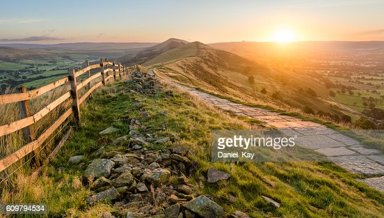 Stone Footpath Along Mountain Ridge In Peak District. : Stock Photo