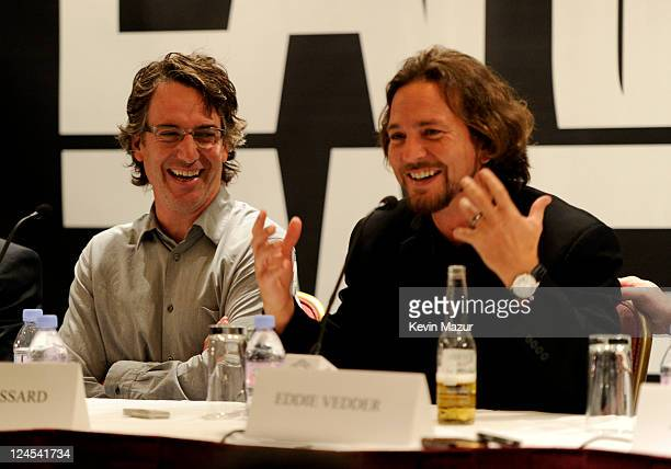 Stone Gossard and Eddie Vedder attend the 'Pearl Jam Twenty' press conference at the Fairmont Royal York during the 2011 Toronto International Film...