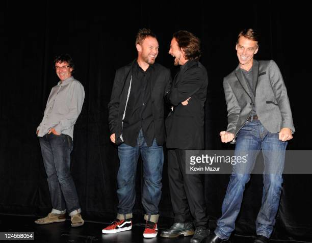 Stone Gossard Jeff Ament Eddie Vedder and Matt Cameron of Pearl Jam attend the 'Pearl Jam Twenty' premiere at the Princess of Wales Theatre during...