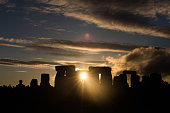 This is a sunset at stonehenge the night of the summer solstice