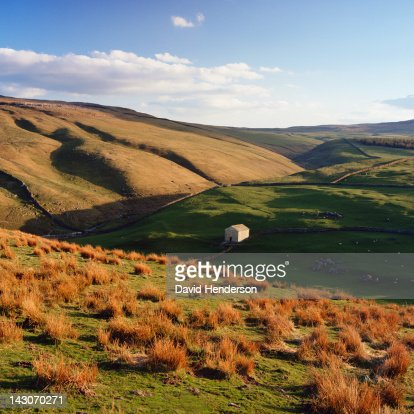 Stone house in rural landscape : Stock Photo