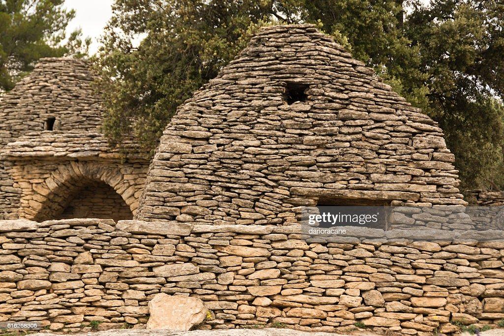 Stone huts in Provence : Stock Photo