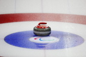 A stone is seen during the wheelchair curling mixed round robin matches at the Ice Cube Curling Center on March 8 2014 in Sochi Russia