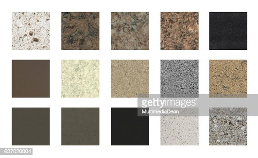 Stone kitchen counter tops and floor tile color samples : Stock Photo