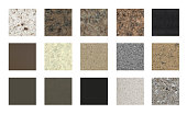 Natural stone color samples, made from marble and granite slabs, and can be used as floor tiles color samples on white surface.