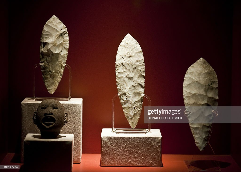 Stone knives are displayed during a presentation for the press of the exhibition 'Moctezuma II' at the Templo Mayor museum, in Mexico City, on June 16, 2010. AFP PHOTO/Ronaldo Schemidt