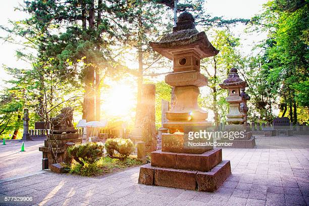Stone lanterns at the Byakkotai memorial site in Aizuwakamatsu Japan