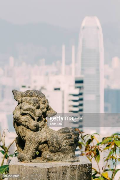 Stone lion statue on The Peak, Hong Kong