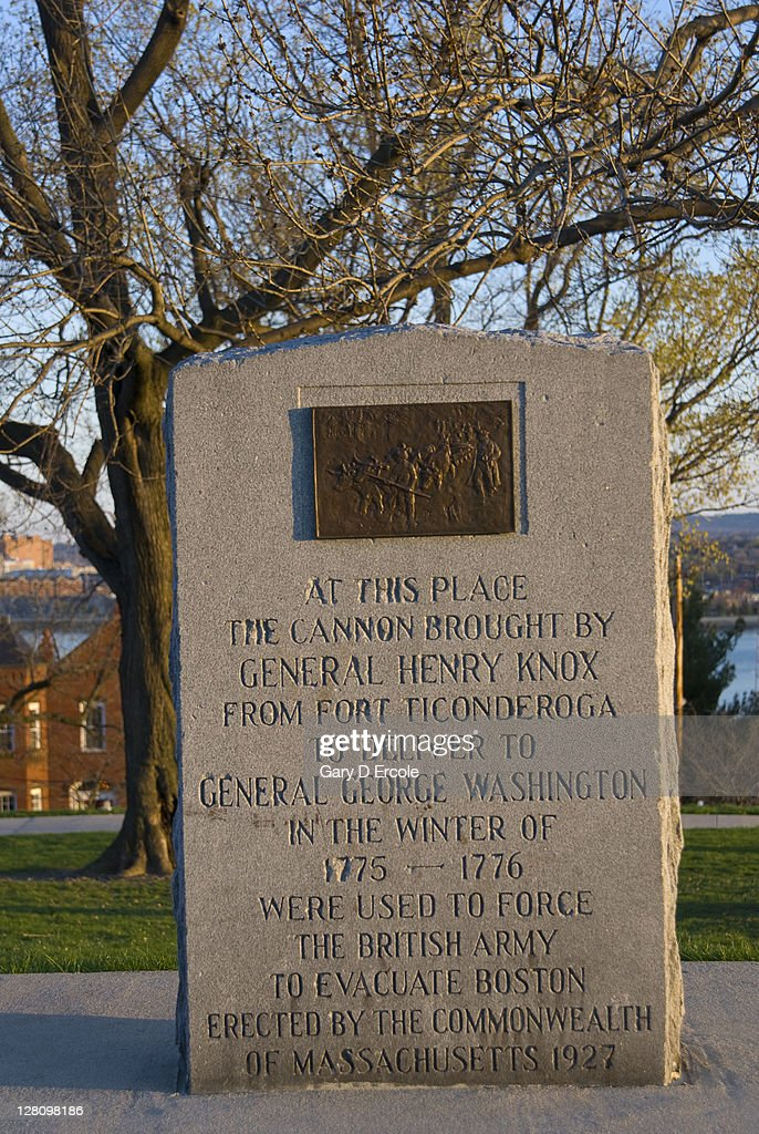 Stone marker noting Revolutionay history of Dorchester Heights, South Boston, MA