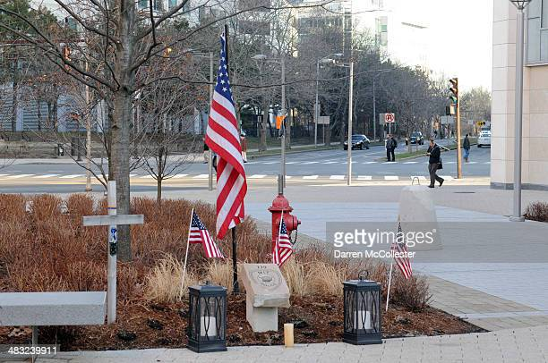 A stone memorial honors Massachusetts Institute of Technology police officer Sean Collier April 7 2014 in Cambridge Massachusetts Collier was killed...
