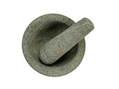 Stone mortar and pestle isolated on white background. Top view.