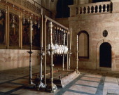 Stone of the Anointing Basilica of the Holy Sepulchre or the Church of the Resurrection Old City of Jerusalem Israel