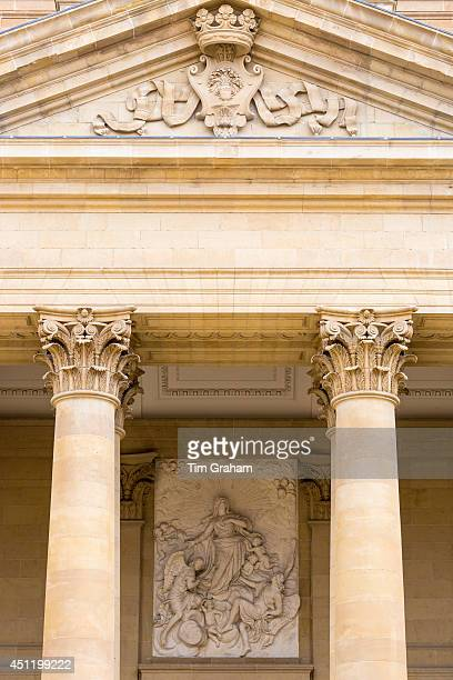 Stone pillars of Cathedral of Santa Maria la Real gothicstyle in Pamplona Navarre Northern Spain