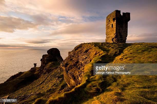 Stone ruins on rocky coastal cliffs