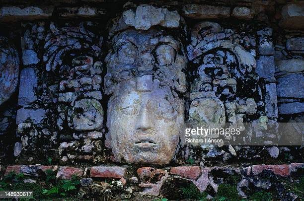 Stone sculpture at the El Palacio - Palenque, Chiapas